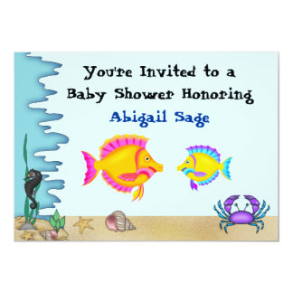 Under the Sea Fish Baby Shower Invites for Boys