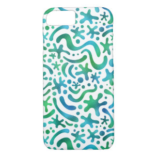 Under the Sea Funky Blob and Squiggle Pattern iPhone 7 Case