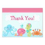 Under the Sea life/Girl Baby Shower Thank You Card Custom Invitation