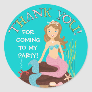Under the Sea Mermaid Thank You Party Sticker