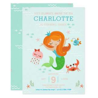 Under the Sea Mermaid with Red Hair Kids Birthday Card