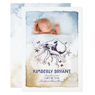 Under the Sea - Nautical Watercolors Baby Birth Card