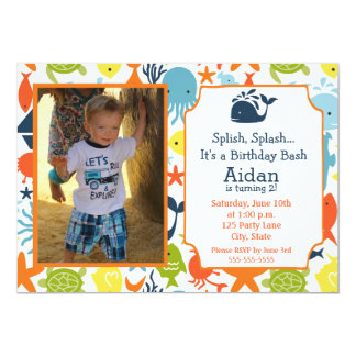 Under the Sea, Nautical with photo Birthday Card