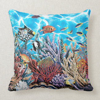 Under the Sea Ocean Lake Fish Water Bright Bold Throw Pillow