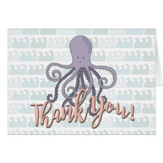 Under the sea Octopus Thank you note card