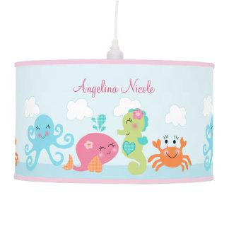 Under the Sea Pink/Girl Baby Nursery Pendant Lamp