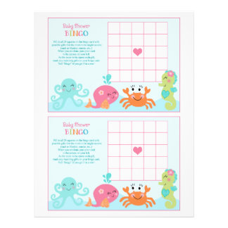"Under the Sea/Pink Whale ""Baby Shower Bingo"" sheet"