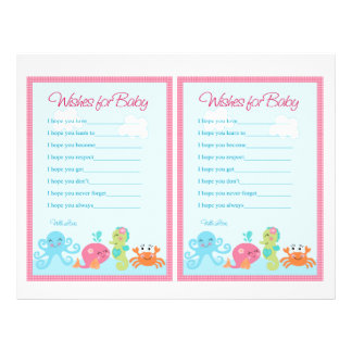 "Under the Sea/Pink Whale ""Wishes for Baby"" notes Flyer"