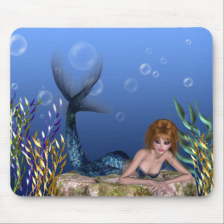 Under the Sea Redheaded Mermaid Mousepad