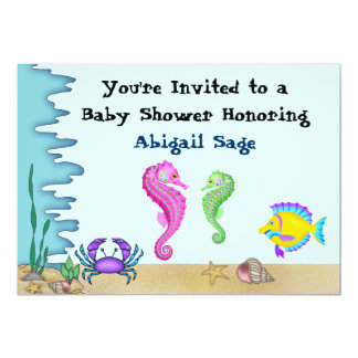 Under the Sea Seahorse Neutral Baby Shower Invites