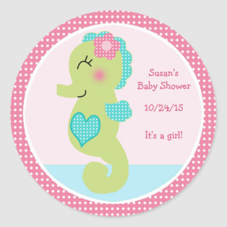 Under the Sea/Seahorse Stickers/Cupcake Toppers Classic Round Sticker