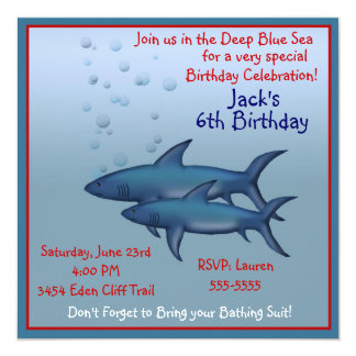 Shark Birthday Invitations Announcements Zazzle Canada