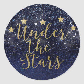 Under The Stars Starry Night Gold Blue Party Favor Classic Round Sticker