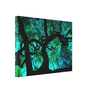 Under The Tree in Turquoise Canvas Print