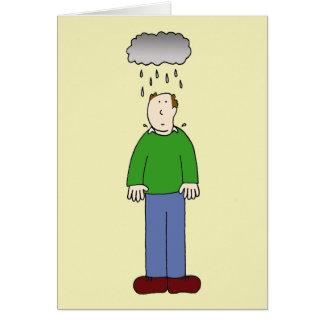 Under the weather, depressed man. card