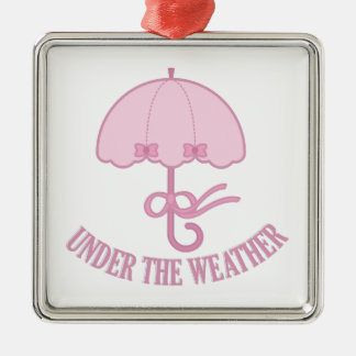 Under The Weather Silver-Colored Square Ornament