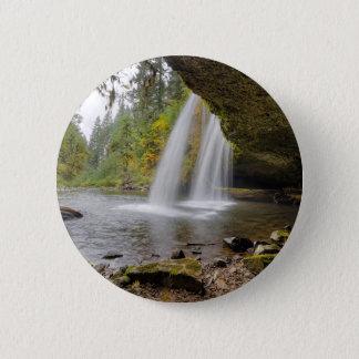 Under Upper Butte Creek Falls in Autumn 2 Inch Round Button
