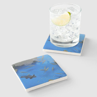 Under water world fishes swimming stone beverage coaster