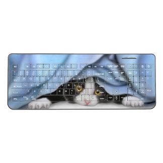 Undercover Tuxedo Kitty Cat Wireless Keyboard