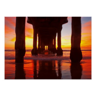 Underneath Manhattan Beach Pier Poster