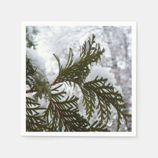 Underneath the Snow Covered Pine Tree Winter Photo Disposable Napkin