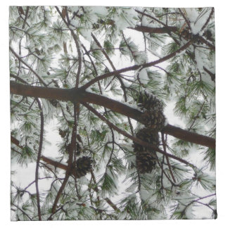 Underneath the Snow Covered Pine Tree Winter Photo Napkin