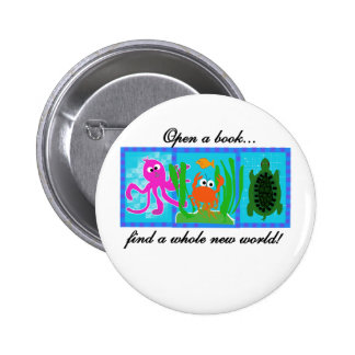 Undersea Adventure Open a Book 2 Inch Round Button