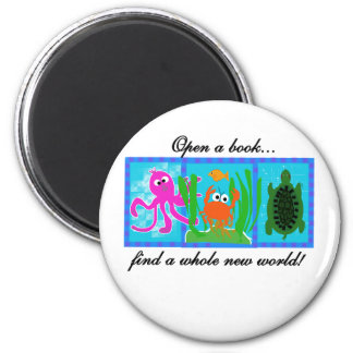 Undersea Adventure Open a Book 2 Inch Round Magnet