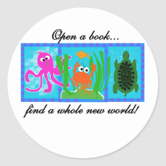 Undersea Adventure Open a Book Classic Round Sticker