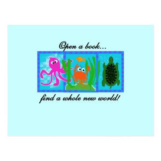 Undersea Adventure Open a Book Postcard