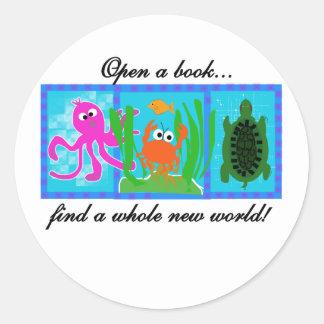 Undersea Adventure Open a Book Round Sticker