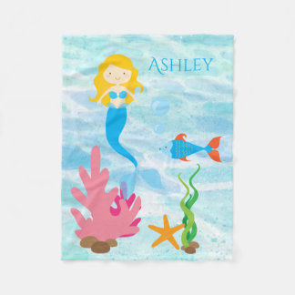 Undersea Mermaid Personalized Fleece Baby Blanket