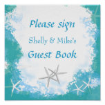 Undersea Stars Wedding Table Guest Book Sign Poster