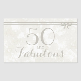 "Understated Elegant Gray ""50 and Fabulous"" Sticker"