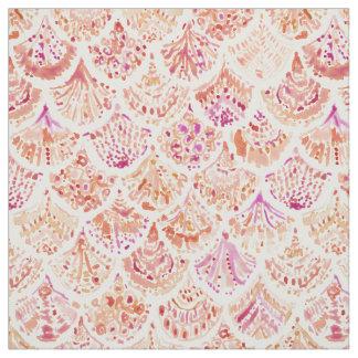 UNDERTOW Coral Watercolor Mermaid Scales Fabric