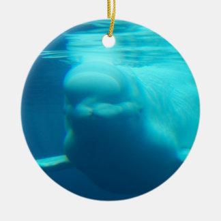 Underwater Beluga Whale Ceramic Ornament