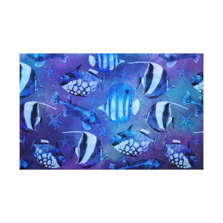Underwater Blue Fish Canvas Print