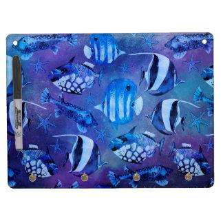 Underwater Blue Fish Dry Erase Board With Keychain Holder