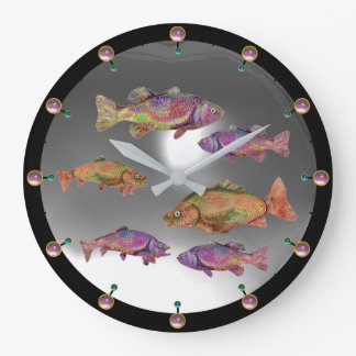 UNDERWATER,COLORFUL RAINBOW TROUTS White Pink Gem Wall Clock