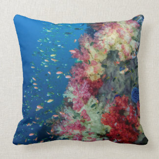 Underwater coral reef, Indonesia Throw Pillow