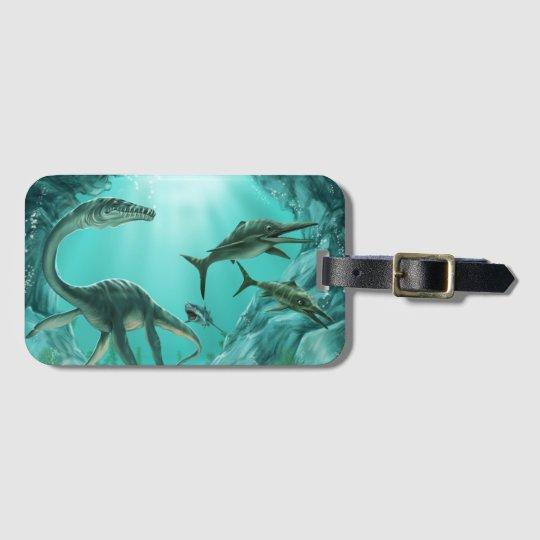 Underwater Dinosaur Luggage Tag