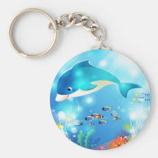 Underwater dolphin artwork design keychain