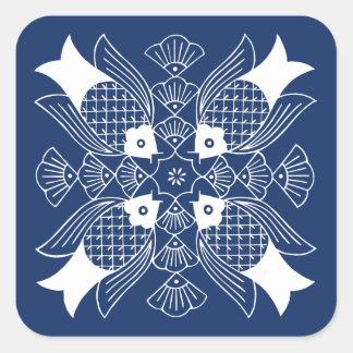 Underwater Fish Design with Blue Background Square Sticker