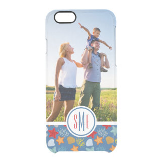 Underwater Life Pattern| Your Photo & Monogram Clear iPhone 6/6S Case
