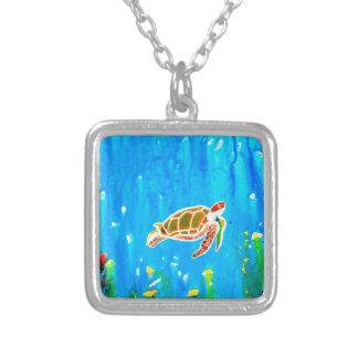 Underwater Magic 5-Happy Turtle excellent gift Silver Plated Necklace