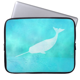 Underwater Narwhal Silhouette Laptop Sleeve