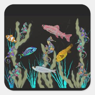 Underwater Neon Fantasy Square Sticker