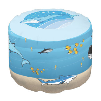 Underwater Ocean Whales Fish Sharks Cartoon Pouf