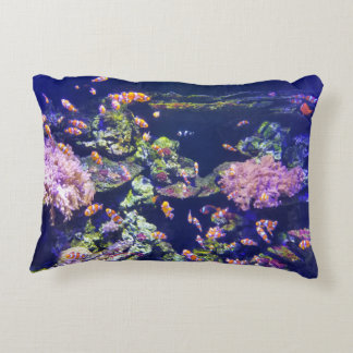 Underwater Orange Clown Fish Around Coral Decorative Pillow