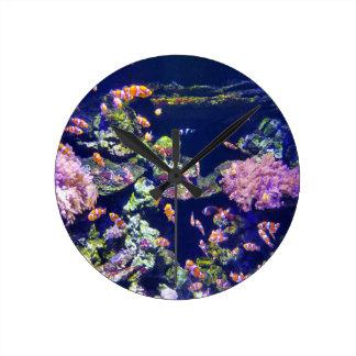 Underwater Orange Clown Fish Around Coral Round Clock